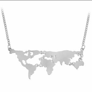 Silver Map of the World Adjustable Necklace